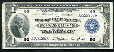 Fr. 711 1918 $1 Frbn Federal Reserve Bank Note New York, Ny Very Fine+