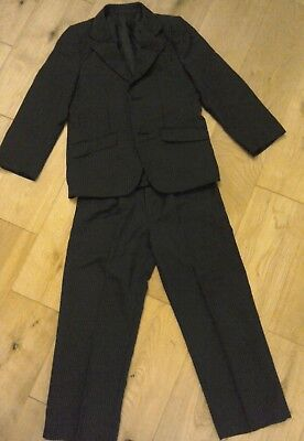 Boys black pin striped suit age6-7
