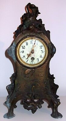 Antique Signed Cast Iron Floral Themed Mantle Clock