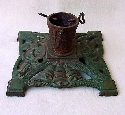 1900s Christmas Feather Tree Stand Antique Cast Iron Bells Candle Original Paint