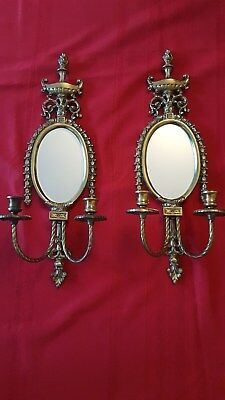 Pair of Antique Vintage Sold Brass Candle Wall Sconces with Oval Mirror.