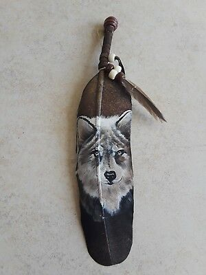 Hand painted feather ,wolf face  , CRAFTS , Hunters , SOUTHWEST ART ,decor #2