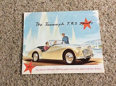 1957 triumph TR3 original british sports car color sales handout