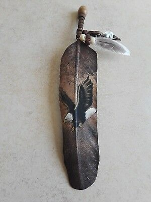 Hand painted feather , flying eagle , CRAFTS , Hunters , SOUTHWEST ART ,decor #3