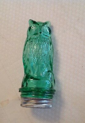 Depression Glass Owl Green Candy Container