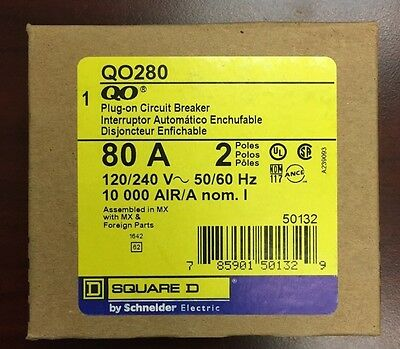 NEW SquareD QO QO280  2Poles 80Amperage Rating 120/240V Plug-In Circuit Breaker