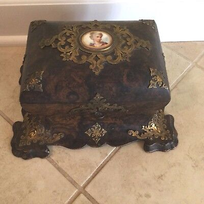 Antique French Burled Wood Tea Caddy with Hand Painted Portrait Medallion