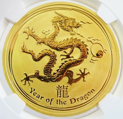 2012 P Gold Australia $100 Lunar Year Of The Dragon 1 Oz Coin Ngc Mint State 68