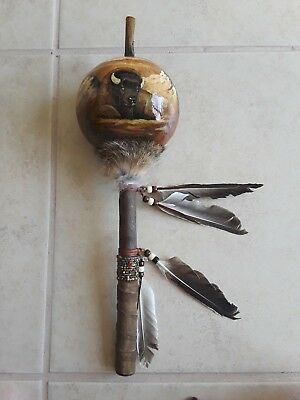 Hand Painted Dance Gourd Rattle , BUFFALO  ,Ceremonial, Santa fe style , glossy