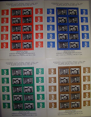 NYC 1965 NAT'L Postage Stamp Show ASDA DEFENDER OF FREEDOM STAMP 4 POSTER SHEETS