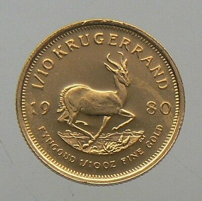 1980 SOUTH AFRICA 1/10 oz KRUGERRAND GOLD COIN
