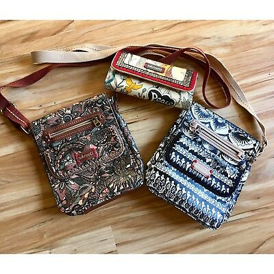 Gently Used 2 Sak Roots Crossbody Purses & 1 Wallet ~ Retired Collection