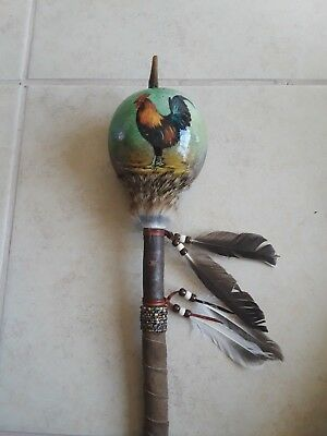 Hand Painted Dance Gourd Rattle, ROOSTER ,Ceremonial, Santa fe style , glossy