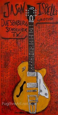 Jason Isbell Guitar Art. 11x17 unframed poster. 400 Unit. Duesenberg