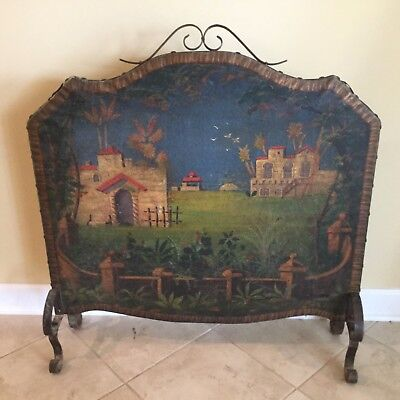Antique 19th C. European Painted Fire Screen w/ Oil on Leather Canvas Painting