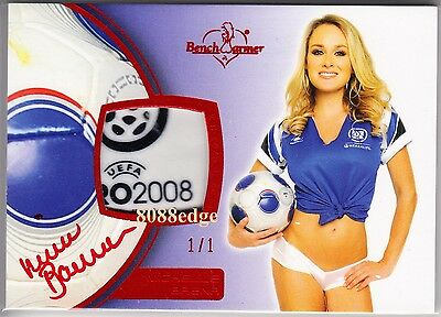 2012 Benchwarmer Soccer Ball Auto: Michelle Baena #1/1 Of Red Autograph Playmate