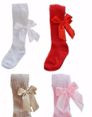 *Baby girl bow TIGHTS* Spanish ribbon satin 3-6 months, 6-12 months,12-18 months