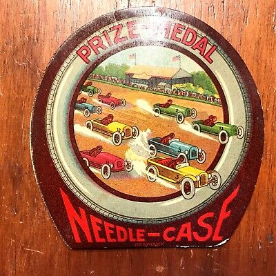 Antique Sewing Needle Book Prize-Medal Rcing Car Needle Case