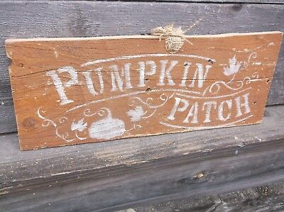 Primitive Weathered Pumpkin Patch wood sign barnwood farmhouse wall mount fall