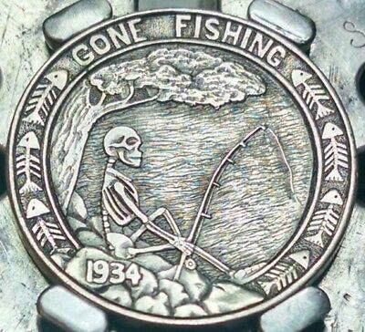 "Hand carved HOBO NICKEL ""Gone Fishing"" by Shane Hunter"