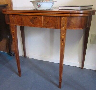 Antique American Federal Inlaid Mahogany Card Table Circa 1800 High End Beauty