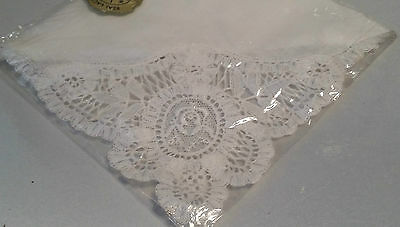 Vintage Brussels Lace & White Linen Hanky - In Cellophane W/ Foil Label