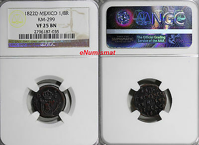 Mexico Augustin I Iturbide Copper 1822 D 1/8 Real NGC VF25 BN RARE KM# 299