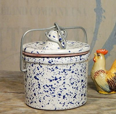 Cheese Crock/Blue/White/Speckle/Splatter/Pottery/Wire Clamp Lid/Farm House Chic