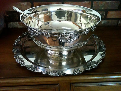 Vintage Wallace Silver Plated Punch Bowl and Tray Set In Harvest Pattern 1940