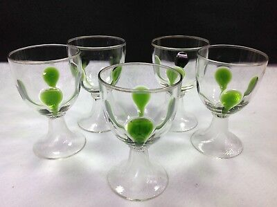 5 Vintage Roemer Wine Glasses Murano Style VGUC!