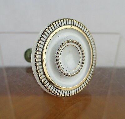 Vintage Round Ornate Gold and White Enamel Metal Drawer Pull