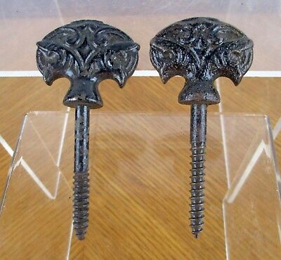 Pair (2) of Vintage Black Painted Iron Metal Decorative Finials / Drawer Pulls