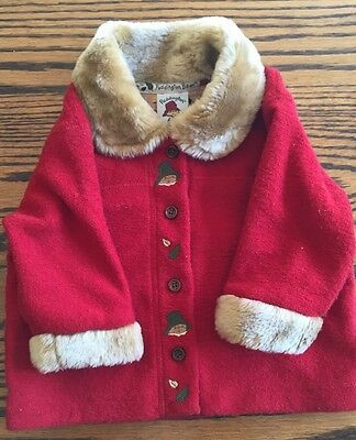 Baby Girl H&M paddington bear jacket red fake fur collar/cuff 74cm 6-9mon