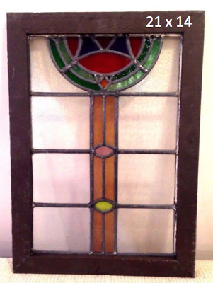 "Antique Victorian Stained Glass Window.  21"" x 14"" actual glass size."