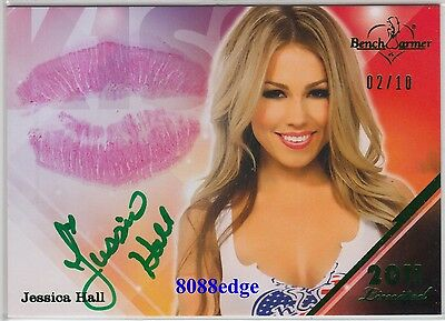 2011 Benchwarmer Kiss Auto: Jessica Hall #2/10 Limited Green Autograph Playboy