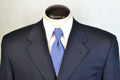 Canali Dark Blue 100% Wool 2 Piece Suit Sz 46L Made in Italy