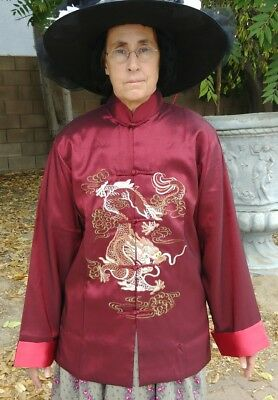 Mens Women's Traditional Chinese Style Jacket Size M Brick Red NEW