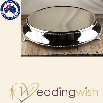 Round 14 inch Silver Plateau Cake Stand, Wedding Cake Stand