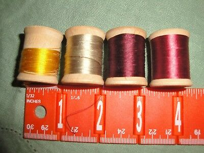 (2466) 4 Vintage wooden spools silk thread ~  Corticelli Size A