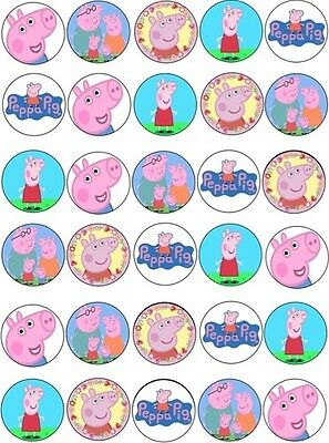 30 X Peppa Pig Edible Cupcake Toppers Images Rice Paper 4Cm