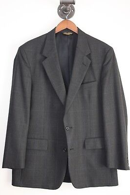 Brooks Brothers Suit 44R 38x31 Gray Check Blue Windowpane Plaid 2 Button Pleated