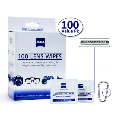 Zeiss Pre-Moistened Lens Cleaning Wipes - Cleans Bacteria, Germs and without Str