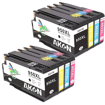 Aken 4Color (Black*2 Cyan*2 Magenta*2 Yellow*2) Replacement for HP 950XL 951XL I