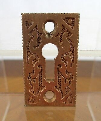 Vintage Small Fancy Ornate Bronze Metal Eastlake Key Hole Cover Backplate