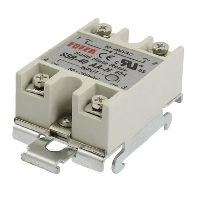 AC 80-280V Temperature Control Solid State Relay w DIN Rail Base 40A SSR-40AA-H