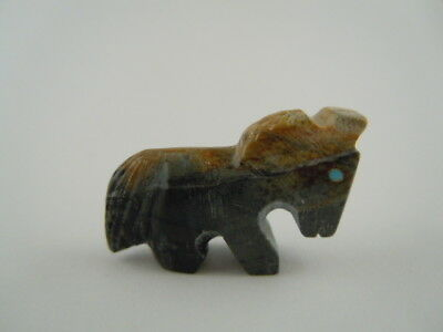 Spirited Zuni 2 Tone Black And Brown Horse Fetish Carving Lorvin Kiyite 66