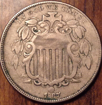 1867 Usa 5 Cents Shield In Higher Grade !