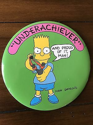 1989 Vintage BART SIMPSON Huge 6in METAL PIN BUTTON Underachiever The Simpsons