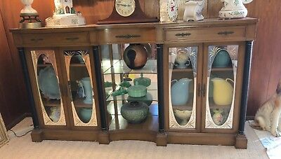 Beautiful Vintage Sideboard Buffet Credenza W/ Mirrored Doors,spiral Columns