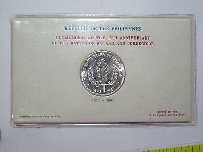 Philippines Republic 1942 - 1967 One Peso Silver Bataan Old Coin Collection Lot
